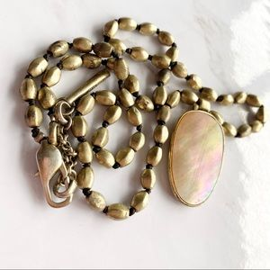 Kenneth Cole Satin Gold Tone Pearl shell Necklace
